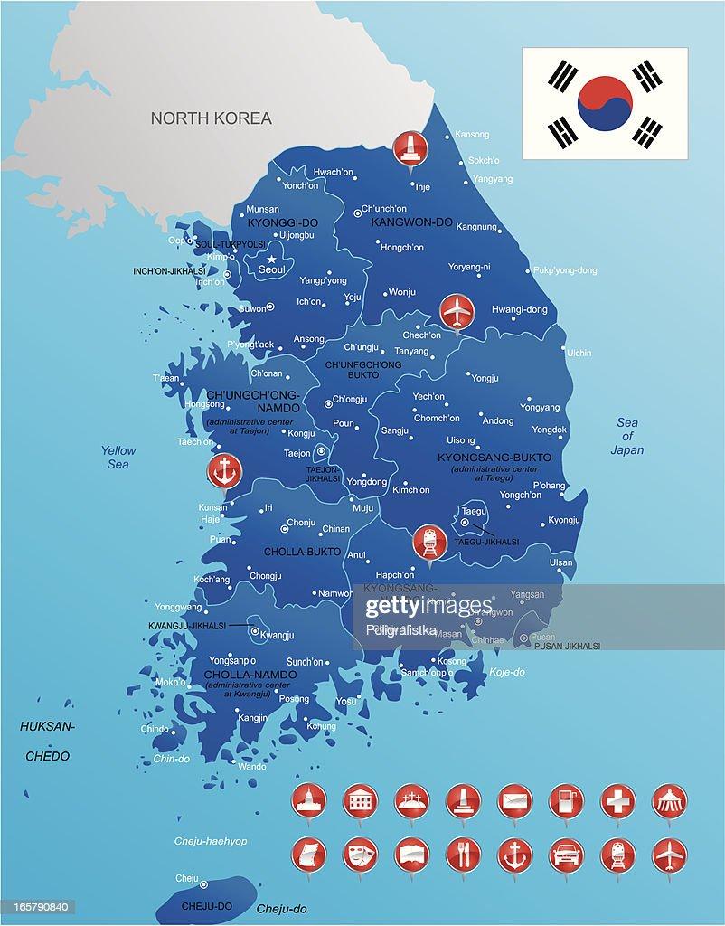 Südkorea Karte.Karte Von Südkorea Stock Illustration Getty Images