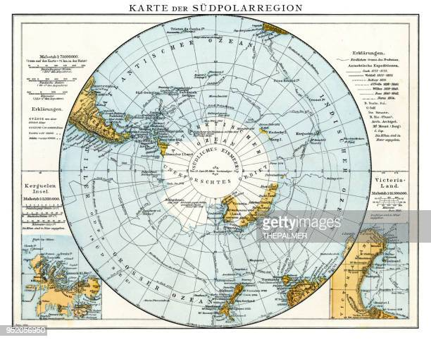 map of south polar region 1896 - antarctica stock illustrations, clip art, cartoons, & icons