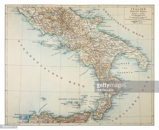 illustrazioni stock, clip art, cartoni animati e icone di tendenza di mappa di italia meridionale 1895 - sud