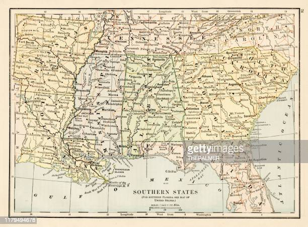 map of southern states 1875 - tennessee v arkansas stock illustrations