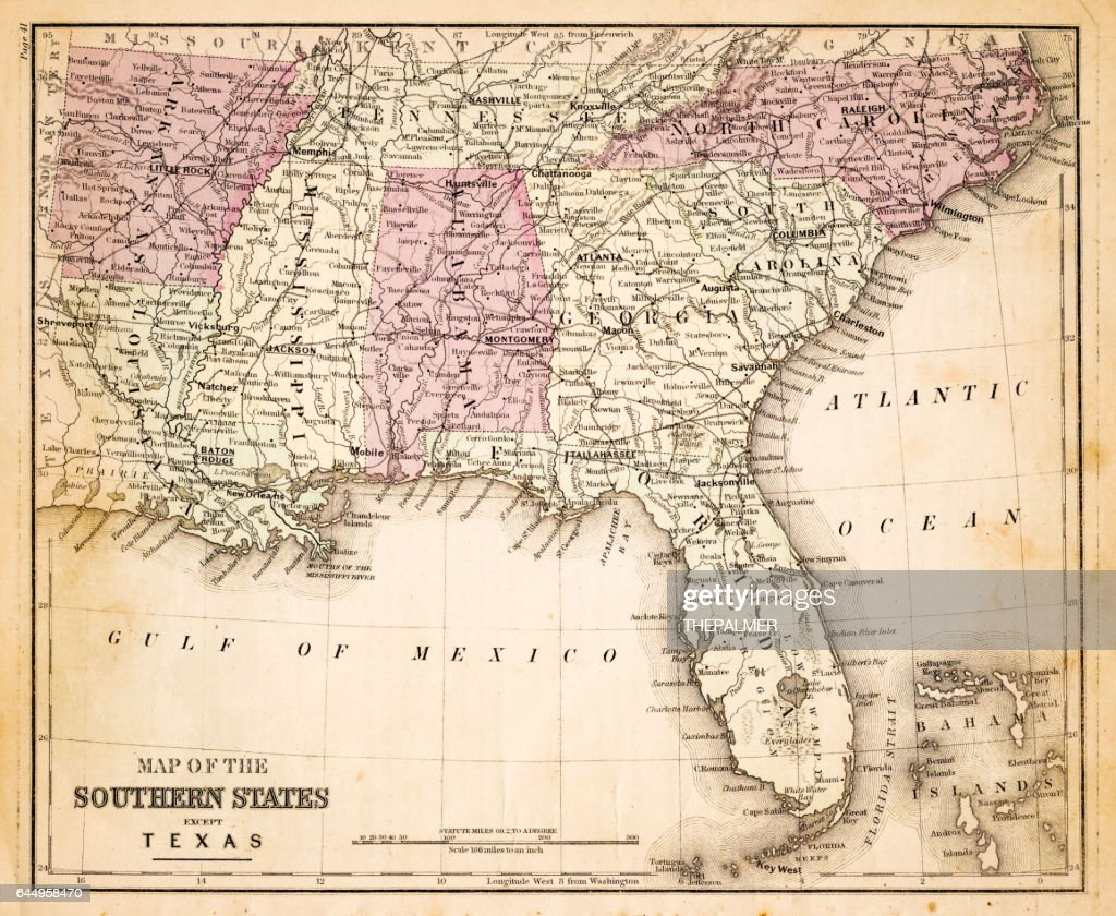 Map Of Southern States Usa Stock Illustration Getty Images - Map southern states us