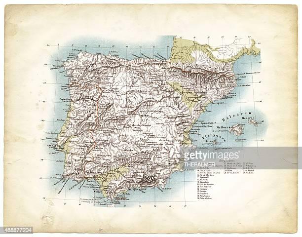 ilustraciones, imágenes clip art, dibujos animados e iconos de stock de mapa de españa, 1863 - geografía física