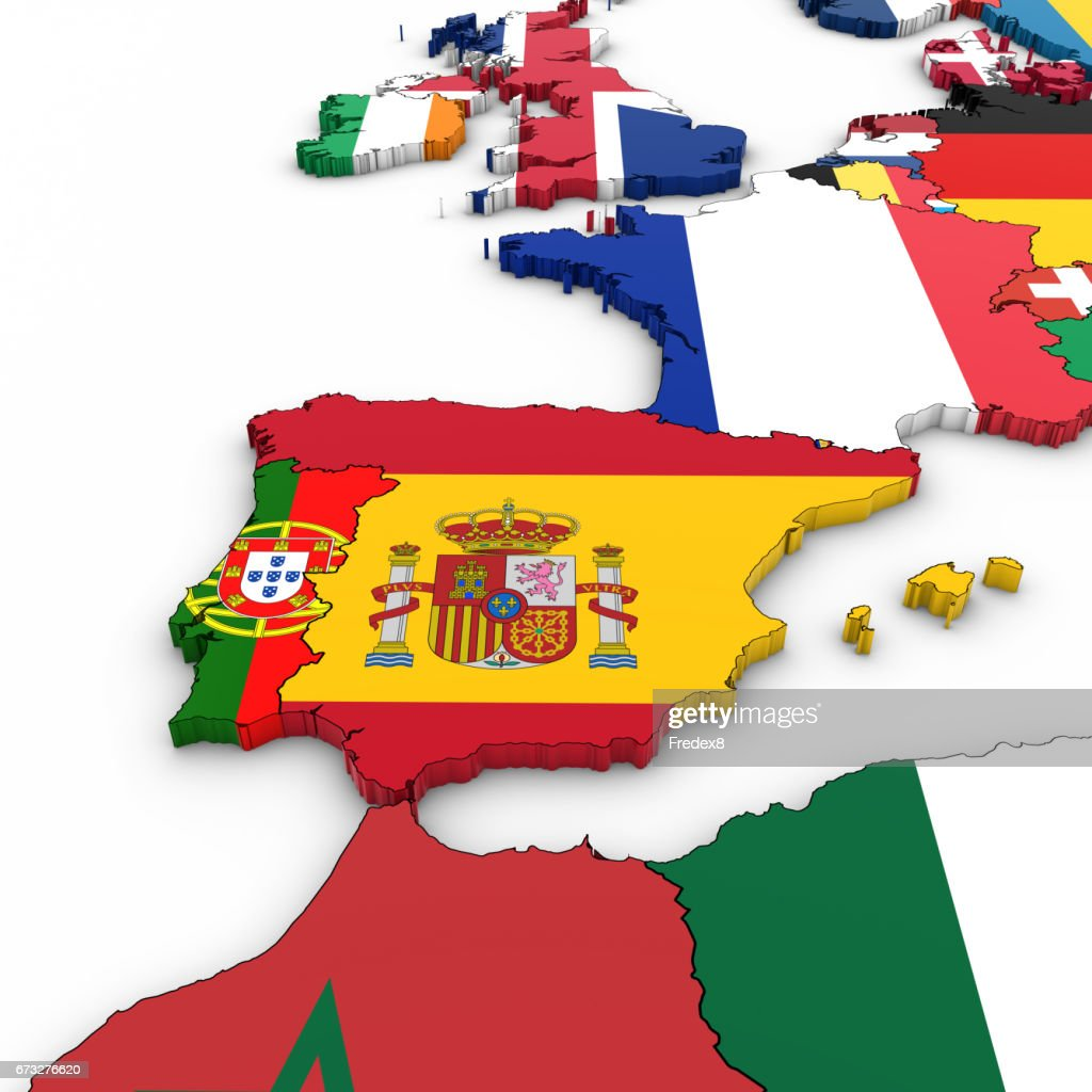 3d Map Of Spain.3d Map Of Spain And Portugal With National Flags On White Background