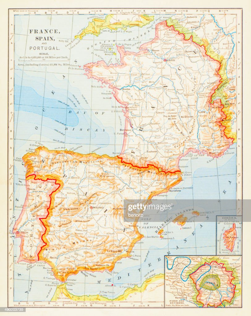 1883 Map Of Spain France And Portugal Stock Illustration Getty Images