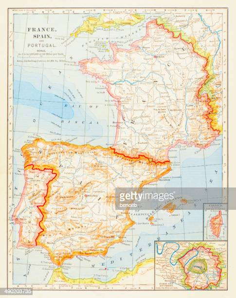 1883 map of spain, france and portugal - bay of biscay stock illustrations, clip art, cartoons, & icons