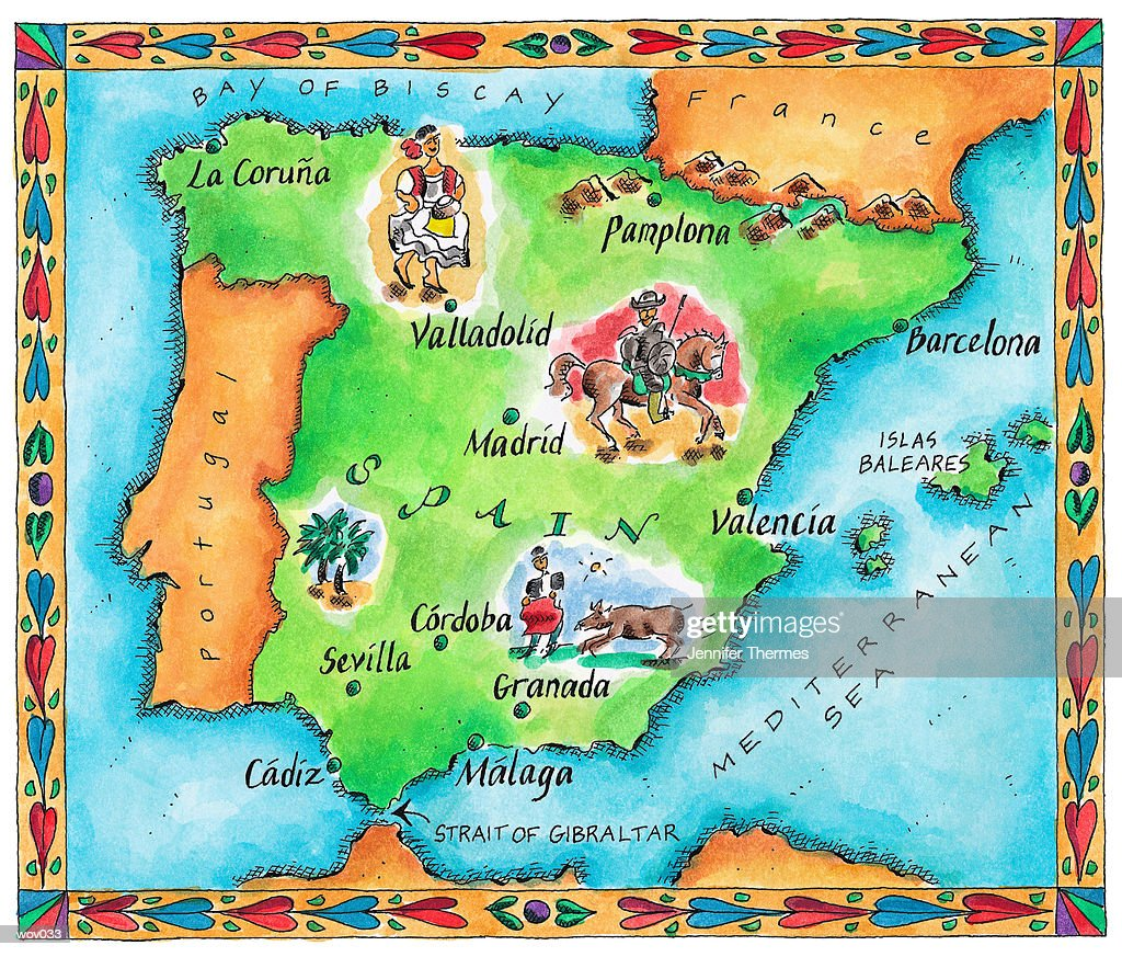 Map of Spain : Stock Illustration