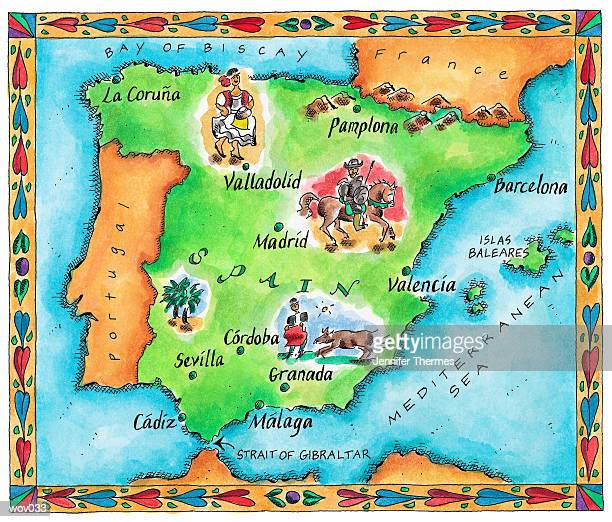 map of spain - bay of biscay stock illustrations, clip art, cartoons, & icons