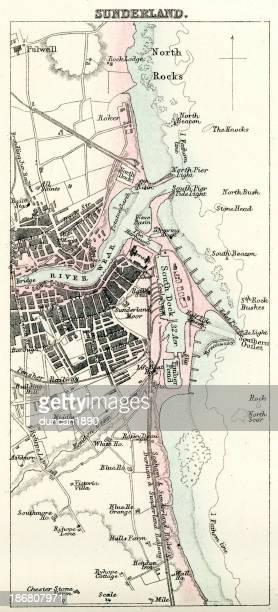 map of sunderland - northeastern england stock illustrations, clip art, cartoons, & icons