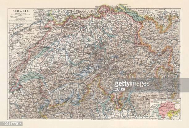karte der schweiz und den verschiedenen sprachgebieten, lithographie, 1897 - bodensee karte stock-grafiken, -clipart, -cartoons und -symbole