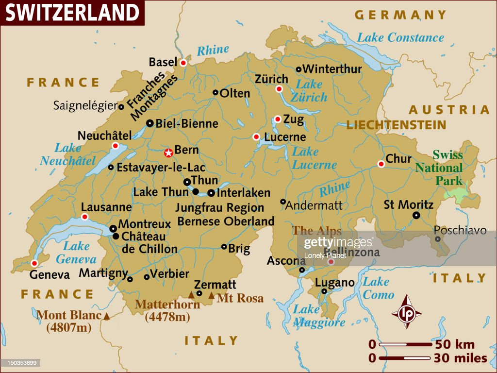 Map Of Switzerland Stock Illustration Getty Images