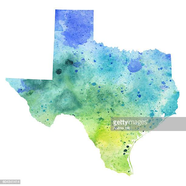 Map of Texas with Watercolor Texture - Raster Illustration