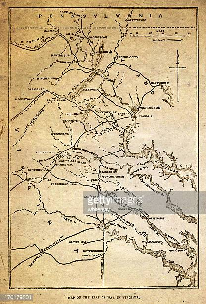 map of the american civil war in virginia - baltimore maryland stock illustrations, clip art, cartoons, & icons