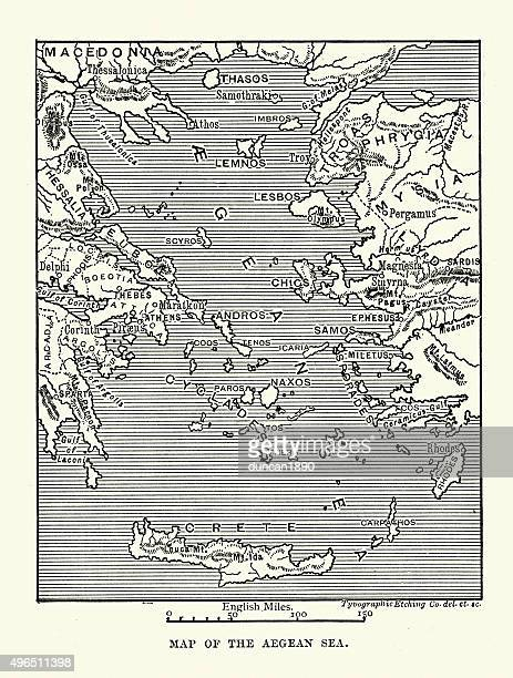 map of the ancient aegean sea - greek islands stock illustrations, clip art, cartoons, & icons