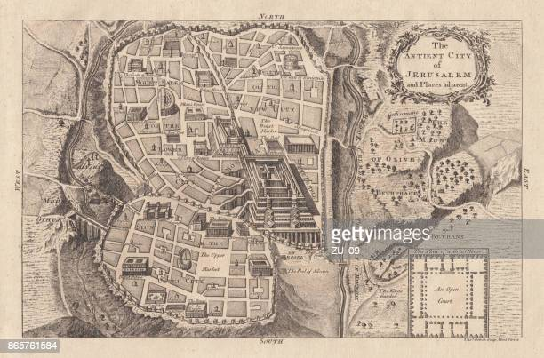 map of the ancient jerusalem, copperplate engraving, published in 1774 - jerusalem stock illustrations, clip art, cartoons, & icons
