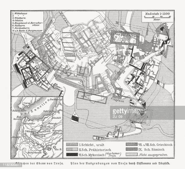 map of the archaeological excavations of troy, woodcut, published 1897 - archaeology stock illustrations