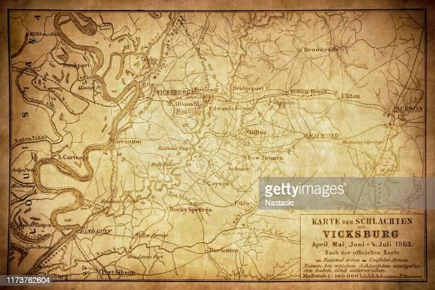 map of the battles around vicksburg - american civil war stock illustrations