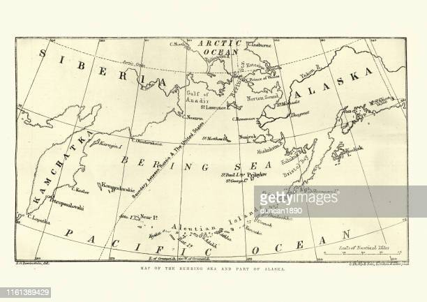 map of the behring sea and part of alaska, 1891 - bering sea stock illustrations