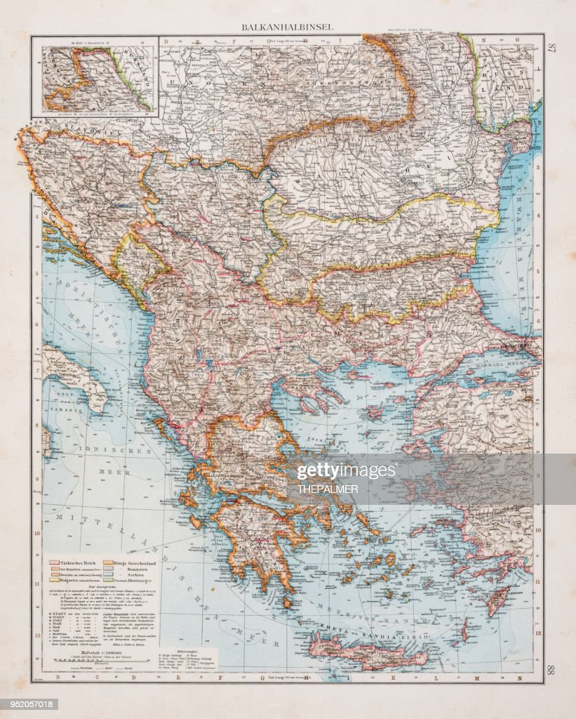 Map of the Blkan peninsula 1896 : stock illustration
