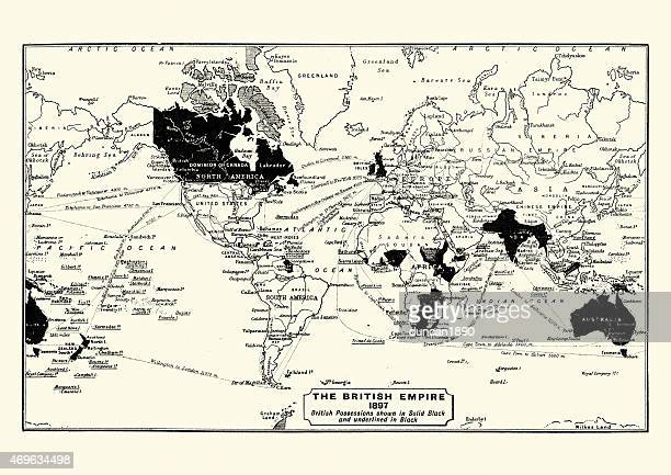 map of the british empire in 1897 - british empire stock illustrations