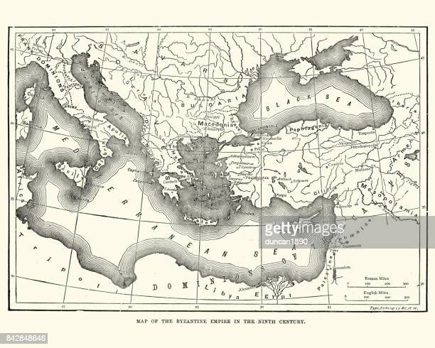 map of the byzantine empire in the 9th century - byzantine stock illustrations
