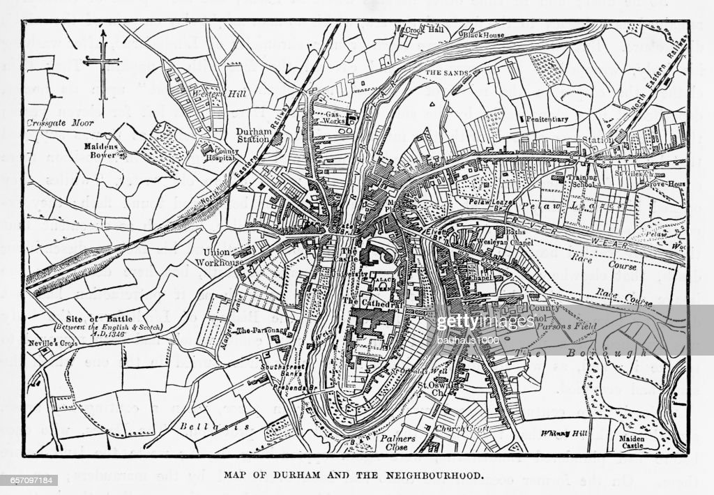 Map Of The City Of Durham England Victorian Engraving 1840 Stock