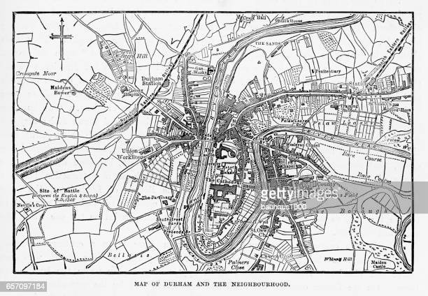 Map of the City of Durham, England Victorian Engraving, 1840