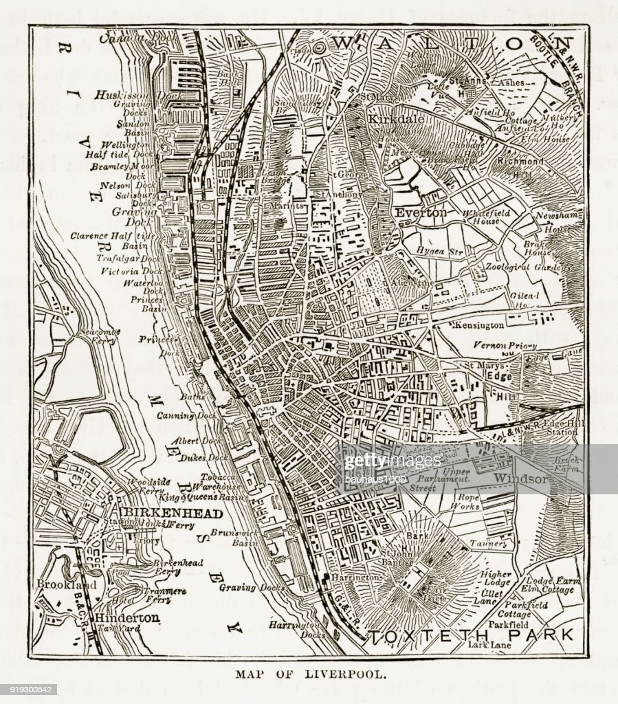 Map Of The City Of Liverpool England Victorian Engraving 1840 Stock ...