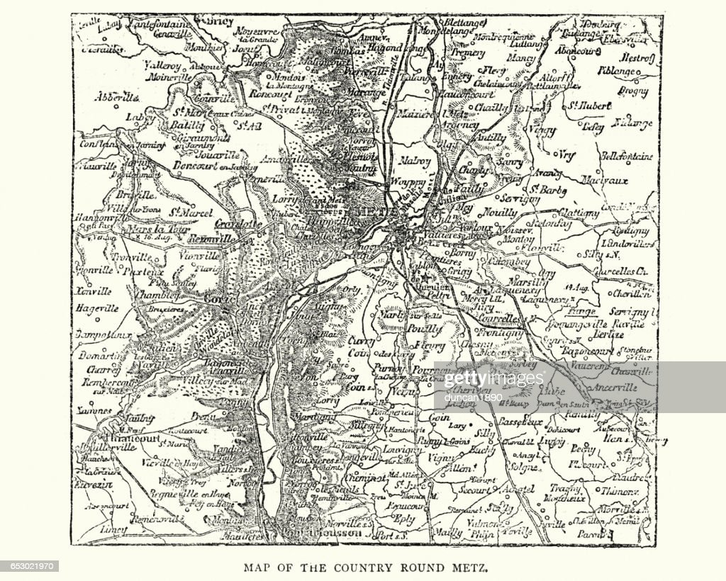 Map Of The Country Around Metz France 1870 Stock Illustration