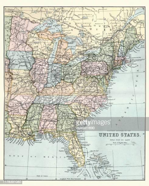 stockillustraties, clipart, cartoons en iconen met kaart van de oostelijke verenigde staten van amerika, 19e eeuw - north carolina amerikaanse staat