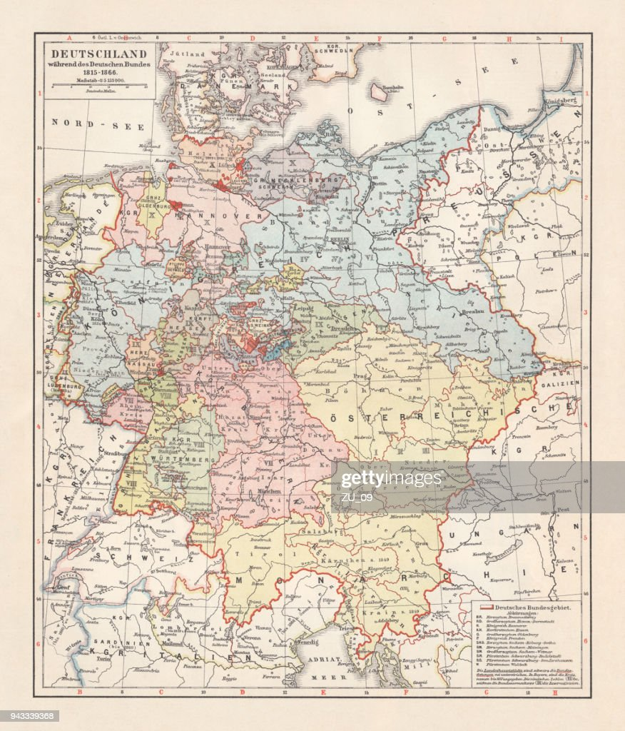 Map Of Germany 1815.Map Of The German Confederation Lithograph Published In 1897 Stock