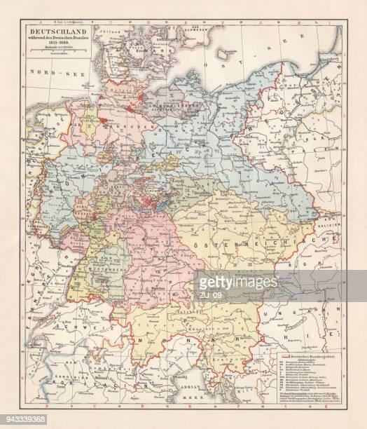 illustrations, cliparts, dessins animés et icônes de carte de la confédération germanique (1815-1866), lithographie, publié en 1897 - guerres napoléoniennes