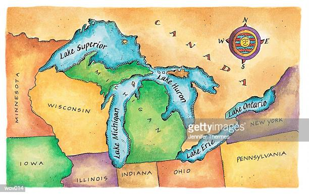 map of the great lakes - lake erie stock illustrations, clip art, cartoons, & icons