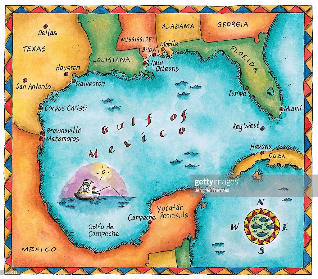 Map of the Gulf of Mexico : Illustrazione stock