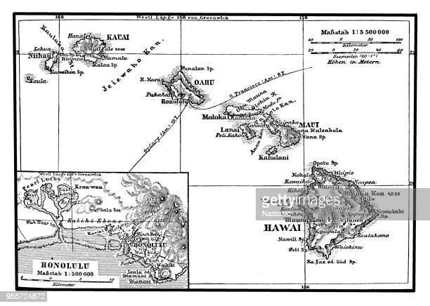 map of the hawaiian archipelago - big island hawaii islands stock illustrations