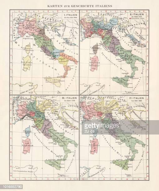 Mapa de la historia de Italia, c.1000-1866, litografía, publicado en 1897