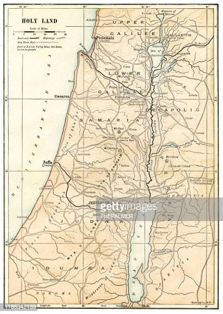 map of the holy land 1898 - historical palestine stock illustrations