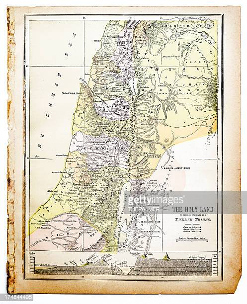 map of the holy land - historical palestine stock illustrations