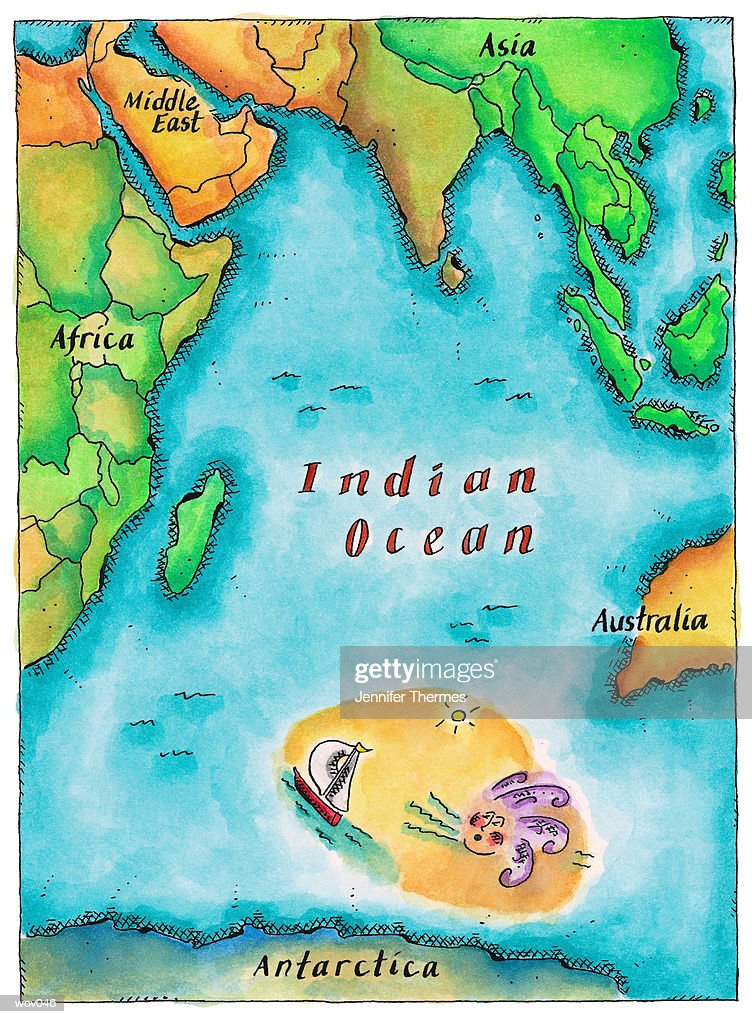 Map of the Indian Ocean : Stock Illustration