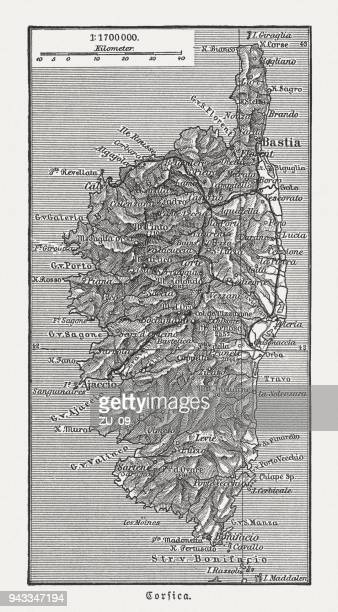 map of the island corsica, france, wood engraving, published in 1897 - corsica stock illustrations, clip art, cartoons, & icons