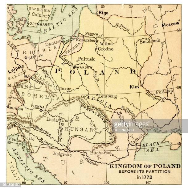 map of the kingdom of poland 1881 - poland stock illustrations