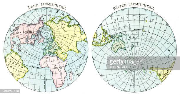 Map of the land and earth hemispheres 1895