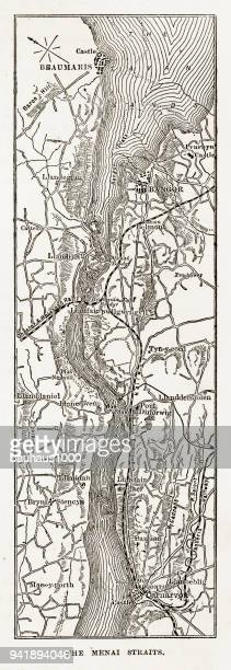 map of the menai straits, carnarvon, wales victorian engraving, 1840 - northeastern england stock illustrations, clip art, cartoons, & icons