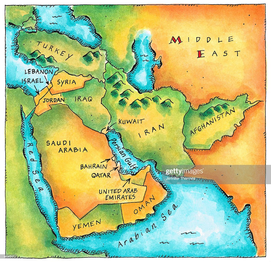 Map of the Middle East : Stock Illustration