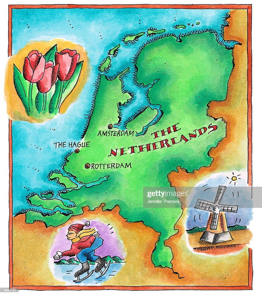 Map of the Netherlands : Stock Illustration