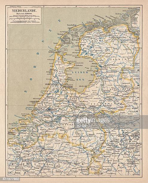 map of the netherlands, lithograph, published in 1877 - amsterdam stock illustrations, clip art, cartoons, & icons