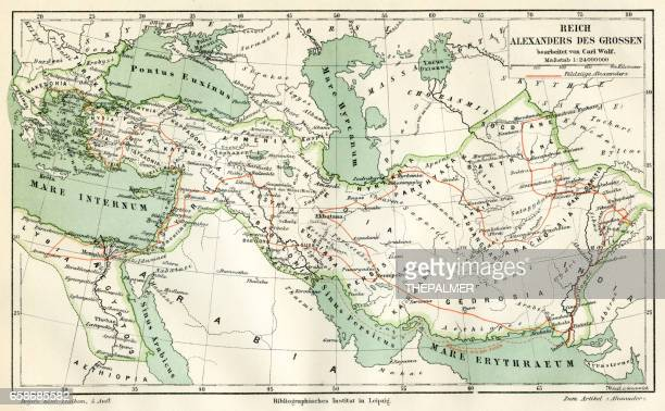 map of the reign of alexandre the great 1895 - alexander the great stock illustrations