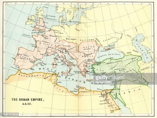 illustrazioni stock, clip art, cartoni animati e icone di tendenza di mappa dell'impero romano nel 117 d.c. - antica roma