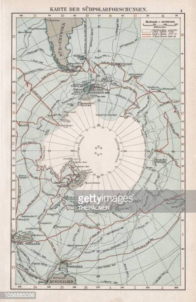 map of the south pole 1900 - antarctica stock illustrations, clip art, cartoons, & icons