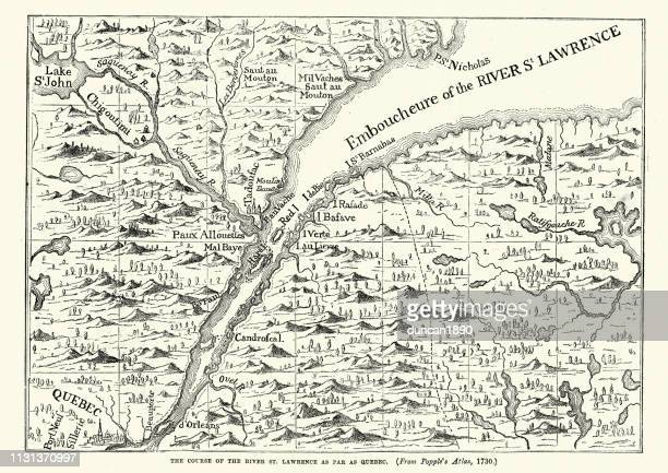 map of the st lawrence river, 18th century - river st lawrence stock illustrations