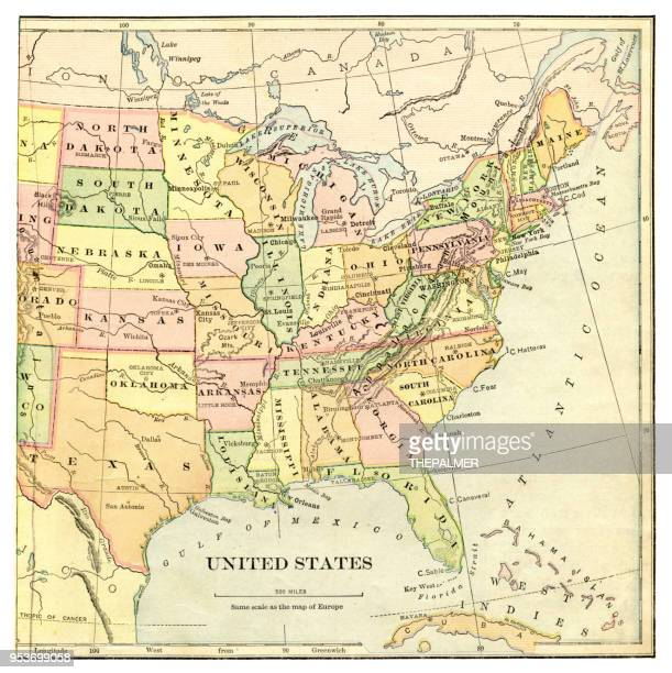 map of the united states 1897 - east stock illustrations